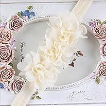 Welecom - Pack de 12 diademas de gasa para bebés y recién nacidos, muy suaves y elásticas, diseño de flores