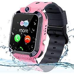 Vannico Smartwatch Niños, Reloj GPS Niño Inteligente Niña IP68 Impermeable con GPS Tracker Teléfono Reloj Despertador Juego de cámara Compatible con 2G Regalo de cumpleaños Simyo para niños (Rosa)
