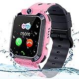Vannico Bambini Smartwatch. Bambino GPS/LBS Smartwatch Android Orologio bambina Impermeabile SOS Touch Screen Anti-Lost fotocamera, Ragazza Smart watch Kids Regalo (Rosa)