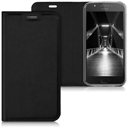 kwmobile Hülle für Motorola Moto E4 - Flipcover Case Handy Schutzhülle Kunstleder - Bookstyle Flip Cover Schwarz