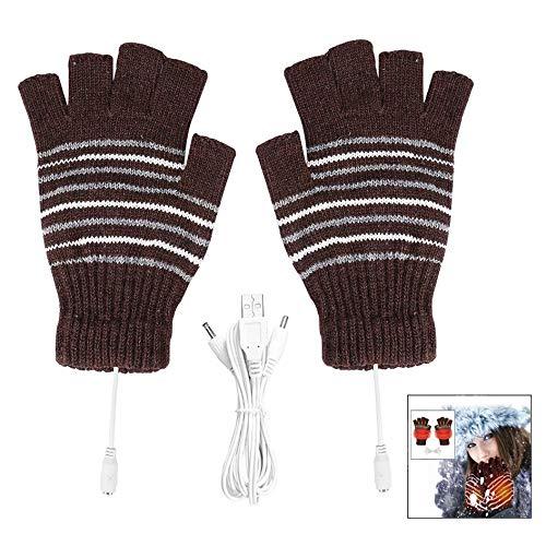 iwobi USB Beheizte Handschuhe Winter Hände Warm Half Finger Beheizt Stricken Handschuhe für Damen & Herren