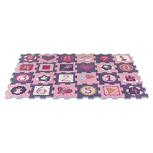 ColorBaby - Alfombra puzzle princesas y números, 24 piezas, 96 x 64 cm (43165)