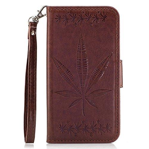 YHUISEN Galaxy J5 Prime Case, geprägte Ahornblatt Design PU Leder Flip Wallet Stand Case mit Card Slot für Samsung Galaxy J5 Prime / On5 2016 ( Color : Rose gold ) Brown