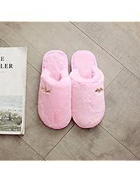 Pareja de invierno zapatillas de algodón preciosa hembra interiores domésticos quedarse en casa con un cálido invierno zapatillas de felpa hombres ,250(36-37 Código), Rosa
