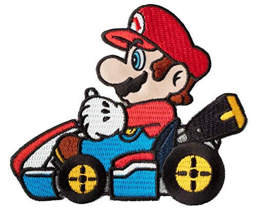 Mario Kart Aufnäher (80 mm) Super Mario Brothers bestickt zum Aufbügeln oder Aufnähen von Kostüm, Cosplay, Souvenir