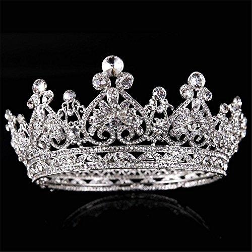 Weddwith Kopfschmuck Kopfschmuck Schmuck Braut Schmuck Silber runden Diamanten Krone Prinzessin...