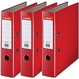 Esselte Lot de 3 Classeurs à Levier, pour l'Archivage, Couverture Plastique, A4, Dos 7,5cm, Rouge, Essentials, 624292