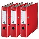 Esselte-Lot-de-3-Classeurs--Levier-pour-lArchivage-Couverture-Plastique-A4-Dos-75cm-Rouge-Essentials-624292