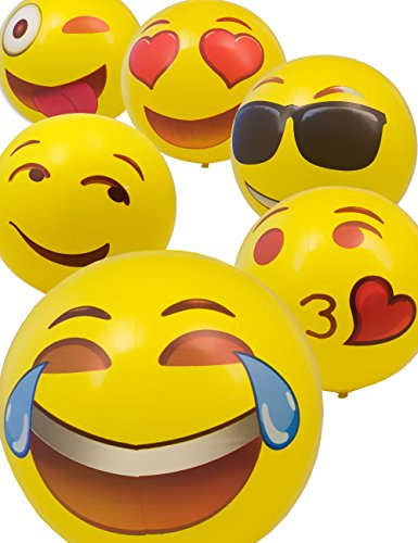 HOMETOOLS.EU - Badeball Smiley Smile Emoticon Emoji | aufblasbar Bade-Ball Beach-Ball Wasser-Ball für Strand 30cm | LOVE