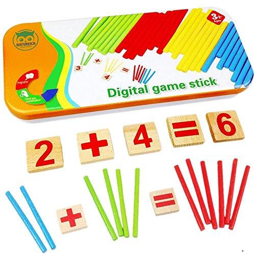 Habba-Babba Montessori Mathe Spielzeug aus Holz inkl. Metallbox zum Aufbewahren Zahlen lernen mit Rechen-Stäbchen, Bunt / Natur ab 3 Jahre für die frühe Motorik Entwicklung & Ausbildung ihres Kindes (Spielzeug Kinder Lernen)
