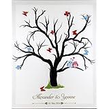 Fingerabdruck Leinwand Fingerabdruckbaum Wedding Tree Hochzeitsgästebuch inkl. Stempelkissen mit Individualisierung (Namen des Paares und Datum)