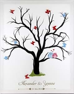 fingerabdruck leinwand fingerabdruckbaum wedding tree hochzeitsg stebuch inkl stempelkissen mit. Black Bedroom Furniture Sets. Home Design Ideas