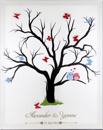 Livingstyle & Wanddesign Fingerabdruck Leinwand zur Hochzeit mit Namen und Datum, Motiv Baum mit 2 Eulen