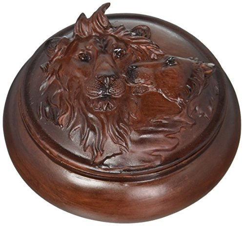 StealStreet Faux Wood Lions Jewelry Trinket Box Collectible Decoration Container