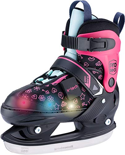 X-TECH LED Schlittschuh pink/lightblue/White Kinder verstellbar Skates rosa blau wei§ (Pink, 33-36)