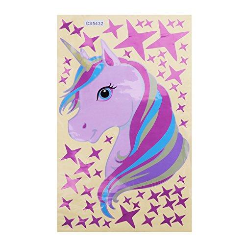 TiaoBug Pegatinas de Pared de Unicornio Pegatina Creativo para La Habitación Dormitorio de Niña La Estante Cama Pegatinas de Ventana