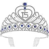 Frcolor 15 cumpleaños Tiara Crystal Rhinestone 15th cumpleaños corona con peines ...