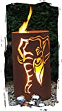 JH-Metalldesign Feuertonne Elefant Edelrost Säule Rost Feuerkorb Feuerschale