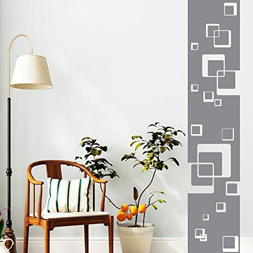 Wandtattoo Loft Wandaufkleber Bordüre mit Quadraten - Wandsticker Motiv mit Rechtecken / 49 Farben / 4 Größen / grau / 120 cm lang x 24 cm...