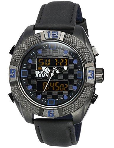 SHARK ARMY Herren Armbanduhr Schwarz Leder Band Sportuhr Tag/Datum/Chronograph/Alarm/LCD SAW171