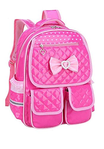 Kinder Kinderrucksack PU Leder Schule Rucksack Schulreisetasche Prinzessin Style (Hot Pink) Hot Pink Leder