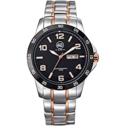 AIBI Waterproof Mens Two Tone Black Large Face Stainless Steel Quartz Sport Watch with Calendar