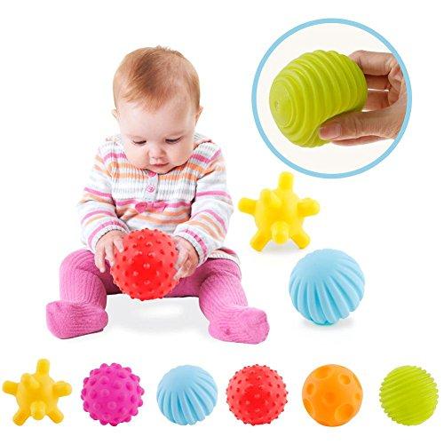 ZHUOTOP 6pcs Bebé Con Textura Multi Ball Set Infantil Bolas Sensoriales Masaje Bola Suave