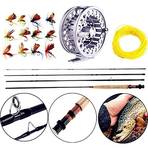 FISHYY Angelrute 8.86FT # 5/6 Fliegenfischen-Ruten-Set 2,7M Fliegenrute und Fliegenrolle-Combo mit Fischköderschnur-Box-Set Angelrutengeschirr