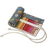 Stifterolle 48 Löcher Buntstifte Canvas Rollentasche Bleistifte Mäppchen Mehrzwecktasche für