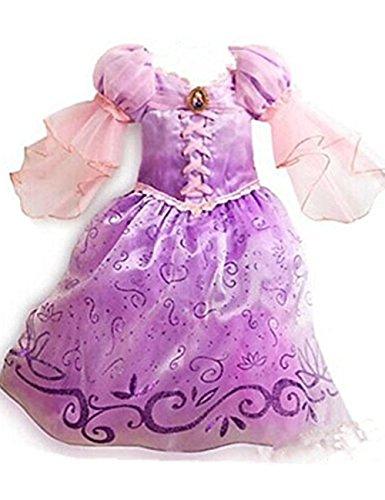 Ninimour Prinzessin Kleid Grimms Märchen Kostüm Cosplay Mädchen Halloween Kostüm Violett#4, Gr.140 (Halloween-kostüme Rapunzel)