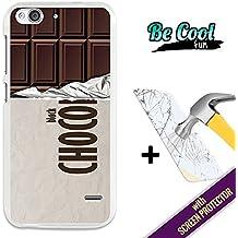 Becool® Fun- Funda Gel Flexible para ZTE Blade S6 [ +1 Protector Cristal Vidrio Templado ]Carcasa TPU fabricada con la mejor Silicona, protege y se adapta a la perfección a tu Smartphone y con nuestro exclusivo diseño Tableta de chocolate negro