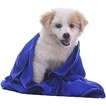 Fastar Toalla absorbente para mascotas, adecuada para el baño del perro, absorbe rápidamente el 90% de humedad Azul