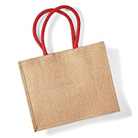 Westford Mill Classic Jute Shopper Bag (21 Litres) (One Size) (Natural/Bright Red)