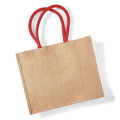 Westford Mill klassisch Jute Einkaufstasche (21 Liter) - Natürlich/LEUCHTEND ROT, One Size