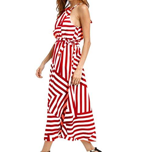 OSYARD Damen Sommer Casual O-Ausschnitt Ärmelloses Sommerkleid Boho Gestreiften Maxikleid Langes Abendkleid Regulär Fit Strandkleid Sommerkleid