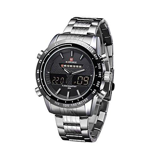 NAVIFORCE Herren Armbanduhr Edelstahl Analog und Digital Wasserdicht Uhr