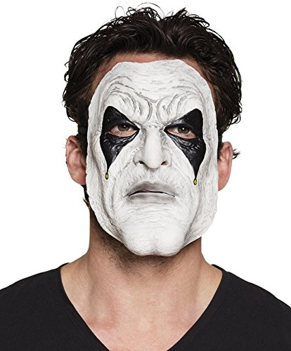 een Kostüme Grusel Latex Maske Weißes Gesicht Pierrot, Mehrfarbig (Halloween Verbrannten Gesichts-make-up)