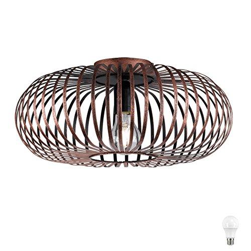 Decken Leuchte Esszimmer Käfig Gestell Lampe rund kupfer-färbig EEK A+ im Set inkl. LED Leuchtmittel