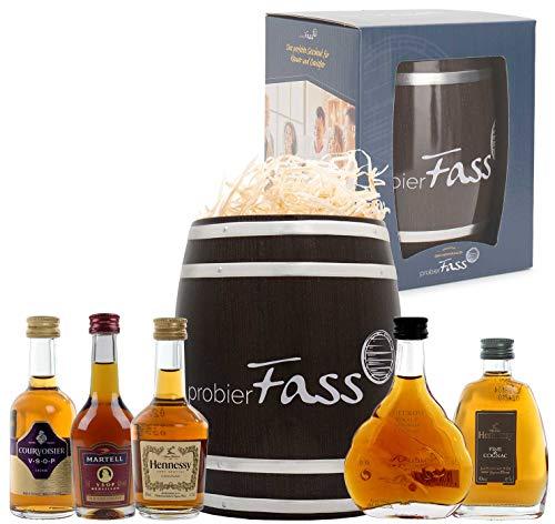probierFass Cognac Geschenk   5 Cognacs (5 x 0.05 l) verpackt in einem originellen Fass mit Geschenkverpackung   Martell VSOP - Courvoisier VSOP - Hennessy VS - Meukow VSOP - Hennessy Fine de Cognac