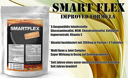 Smart Flex | 500 Tablets Bulk Nutrients for the joints | Highly Dosed Joint Complex – Glucosamine + Chondroitin + MSM + Collagen | Joint/Cartilage Protection – Rheumatism And Arthritis.