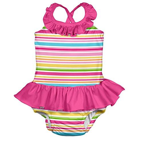 Preisvergleich Produktbild i play. 712153-205-45 Schwimmwindel- Badeanzug mit Rüschen 18-24 Monate, Multistripe, pink