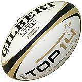 Zenon Top 14 - Ballon d'Entraînement de Rugby Blanc/Noir/Or - taille 5