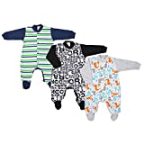 TupTam Unisex Baby Schlafstrampler Baumwolle 3er Pack, Farbe: Junge 2, Größe: 92
