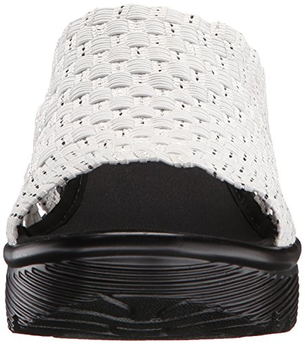 Skechers Cali Women's Parallel-Milk And Honey Wedge Sandal, White/Silver, 5.5 US/5H M US White/Silver