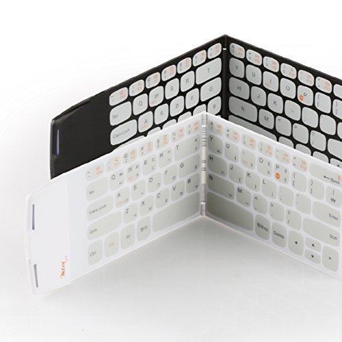 Galleria fotografica - Wekey Tastiera tascabile più compatta al mondo, Bluetooth 4.0, pieghevole, wireless, colore nero, layout inglese/coreano realizzata in Corea