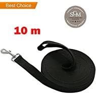 Extra Long Line Training Dog Leash - Long Lead For Large, Medium and Small Dogs - Great for Training, Play, Camping, or Backyard (10m, Black)