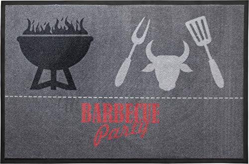 Primaflor - Ideen in Textil BBQ Barbecue Grillmatte Grillunterlage Grey 80x120 cm Grillschutzmatte Bodenschutzmatte für Grill, Rutschfeste Grillunterlage Schmutzfangmatte Bodenmatte