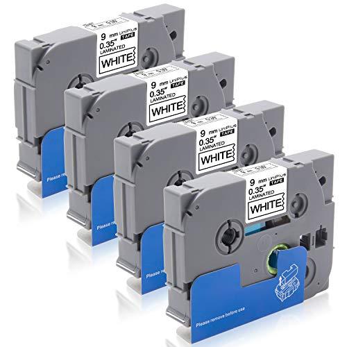 UniPlus 4x Tze221 Tze-221 9 mm Nastro Laminato Nastri per Etichette Compatibile per Brother P-Touch 1000 PT-H75 PT-H110 PT-H200 GL-H105 GL-H100 PT-H100LB PT-H101C, 9 mm x 8 m,Nero su Bianco