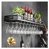 ZYM Weinregale Weinregal, Metall Retro | Weinflaschenständer | Weinglasregal | Antikes Weinregal an der Wand befestigter Weinschrank tassenhalter (Farbe : SCHWARZ, größe : 60cm)