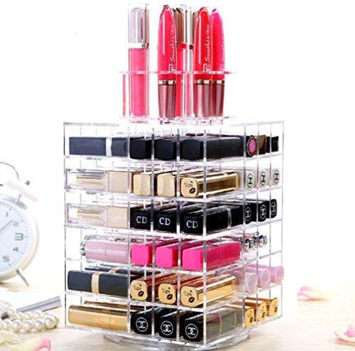 HQdeal Support Présentoir de Rouge à Lèvres Brillant à Lèvres Eyeliner Vernis à Ongles Organisateur de Cosmétiques Tournant à 360° ajustables pour des Crèmes Rangement pour Maquillage